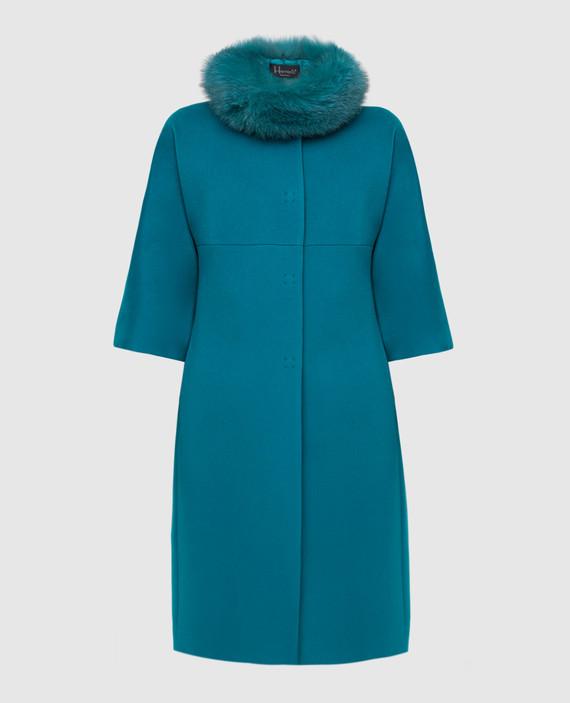 Бирюзовое пальто из шерсти