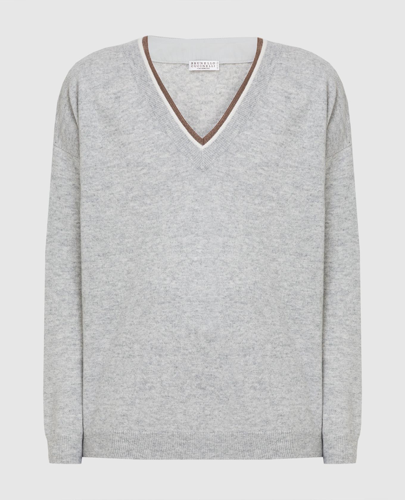 Серый пуловер из шерсти, кашемира и шелка