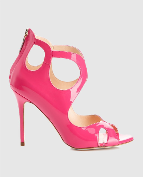 Розовые босоножки из лакированной кожи