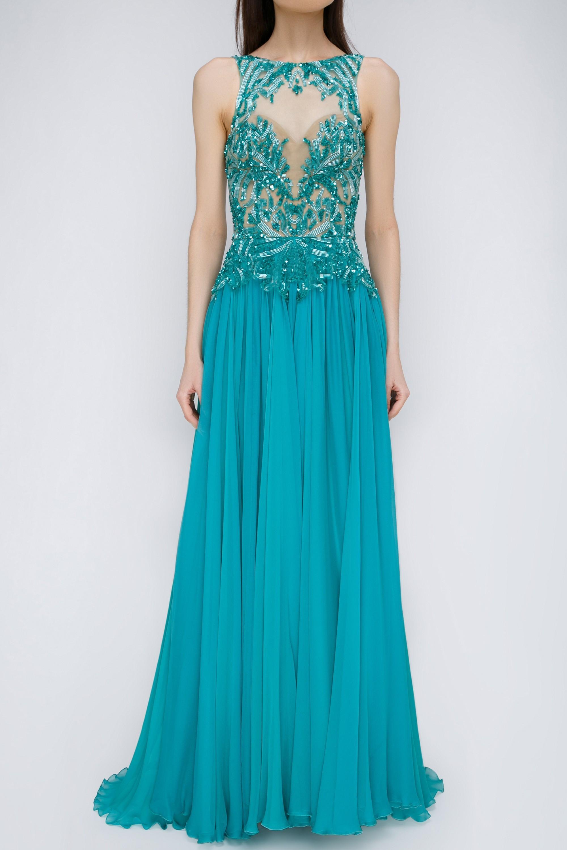 Бирюзовое платье из шелка