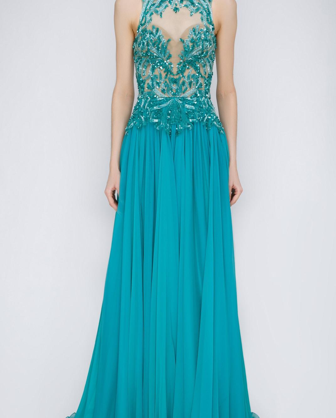 Zuhair Murad Бирюзовое платье из шелка RDRS15008DL99
