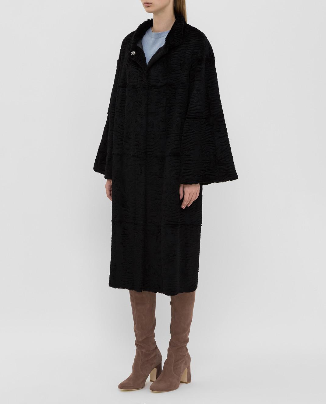 Giuliana Teso Черное пальто из меха кролика 84KA440A изображение 3