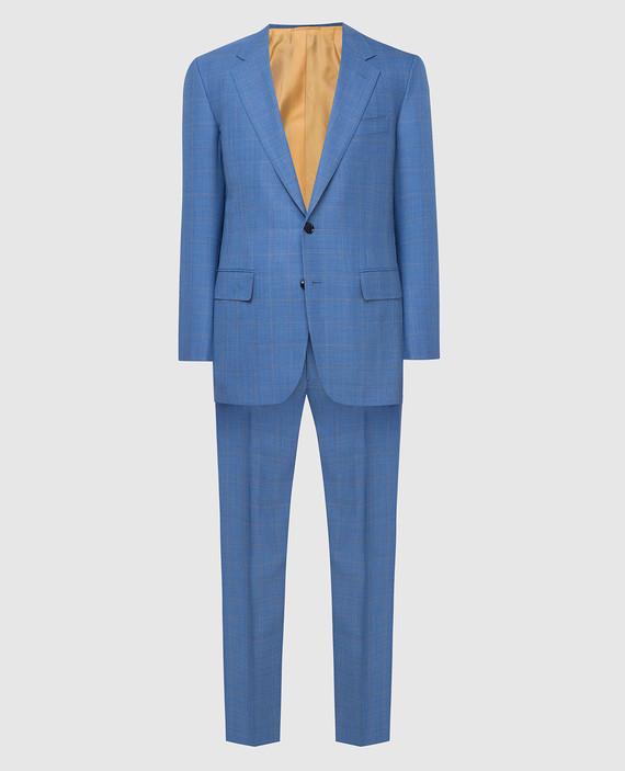 Голубой костюм из шерсти и кашемира