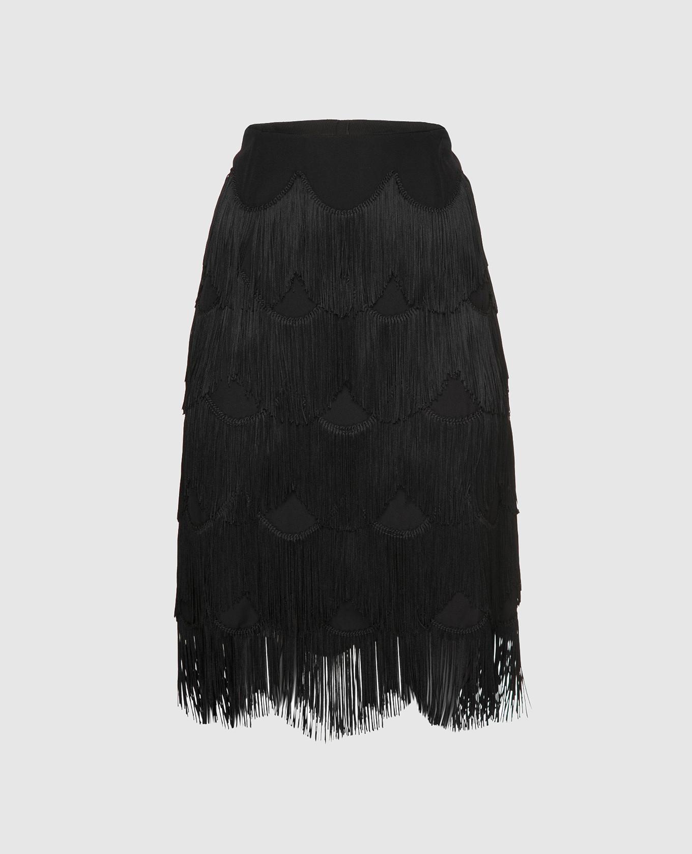 Черная юбка с бахромой