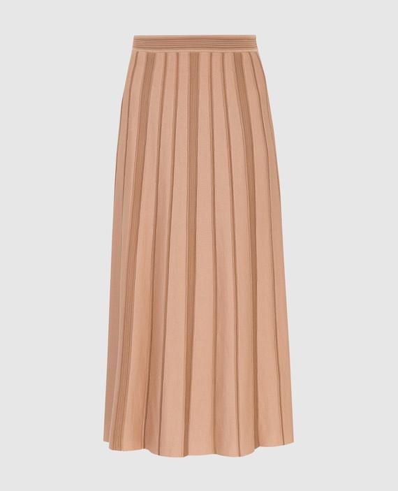 Темно-бежевая юбка из кашемира и шелка