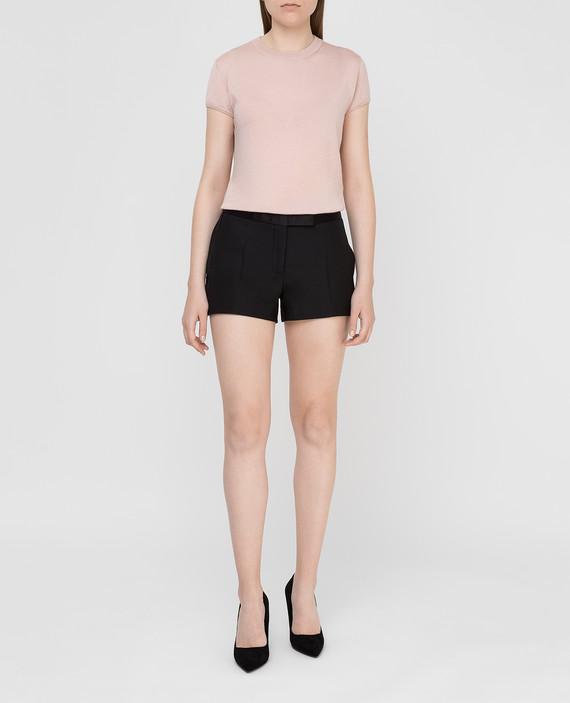 Черные шорты из шерсти и шелка hover