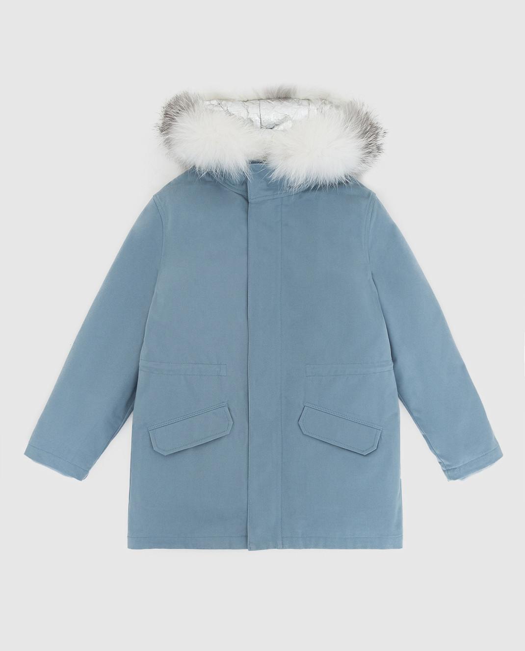 Yves Salomon Enfant Детская синяя парка с мехом лисы 20WEM004XXEM3X812