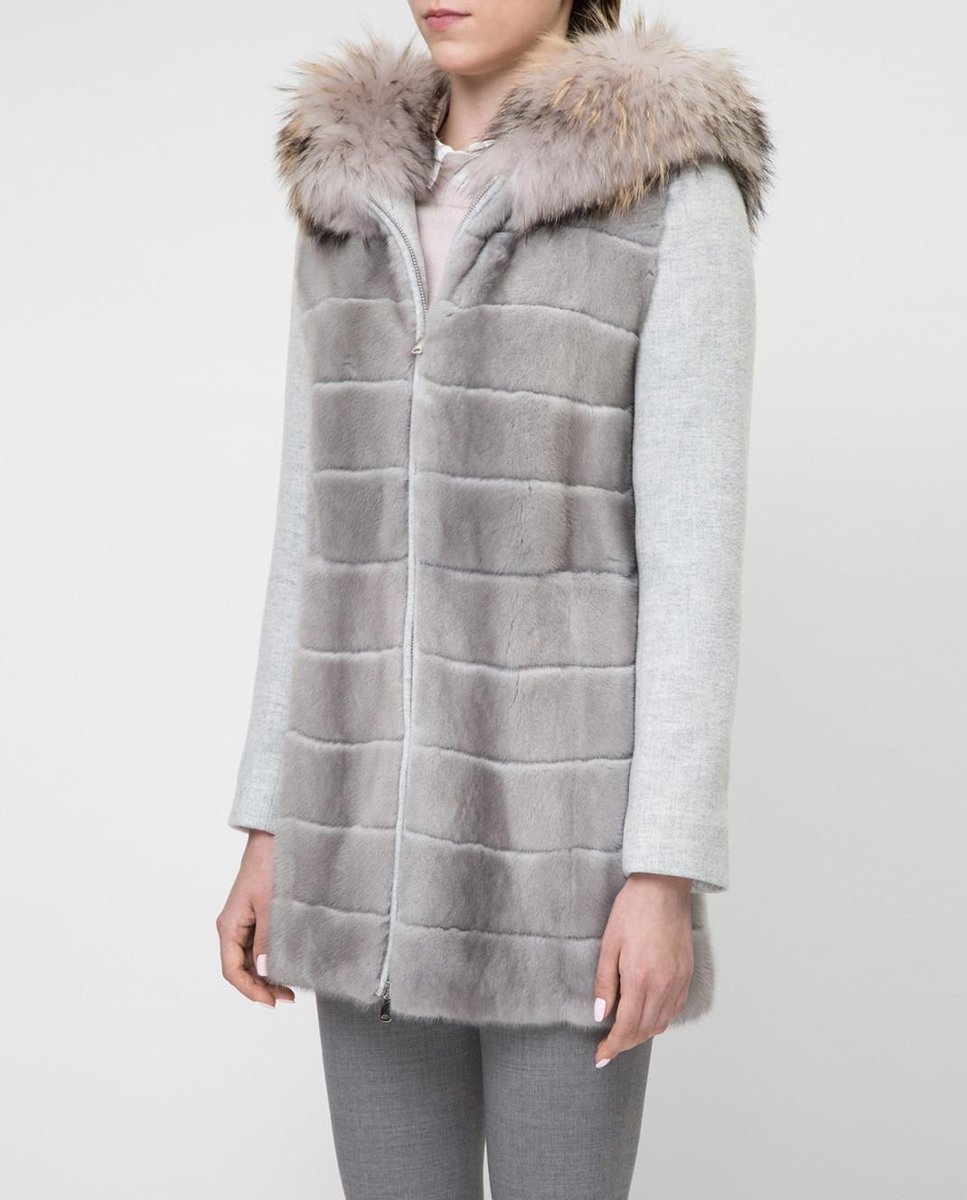 Real Furs House Серое пальто с мехом енота 922RFH изображение 3