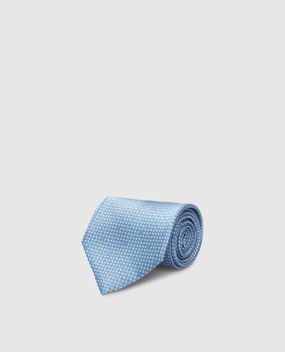Голубой галстук ручной работы из шелка