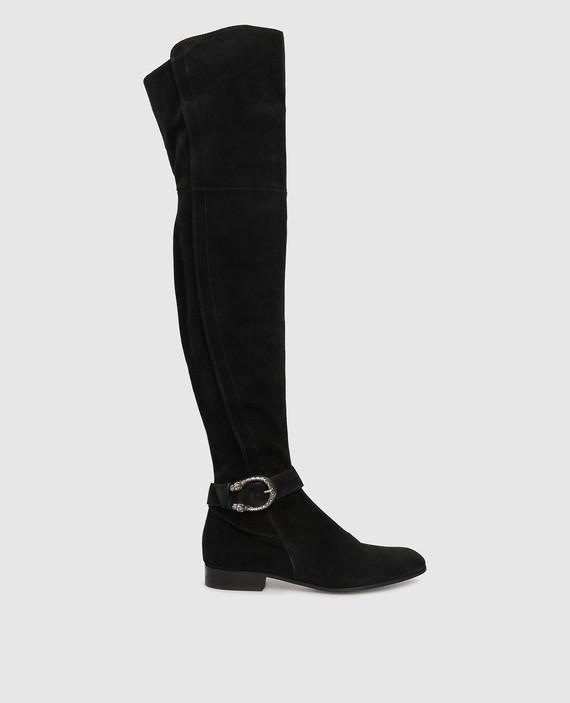 Черные замшевые ботфорты