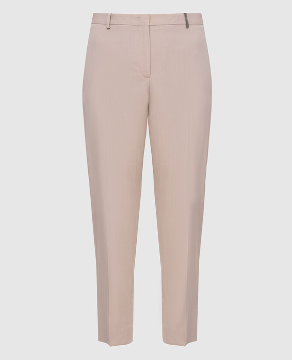 Бежевые брюки из шерсти