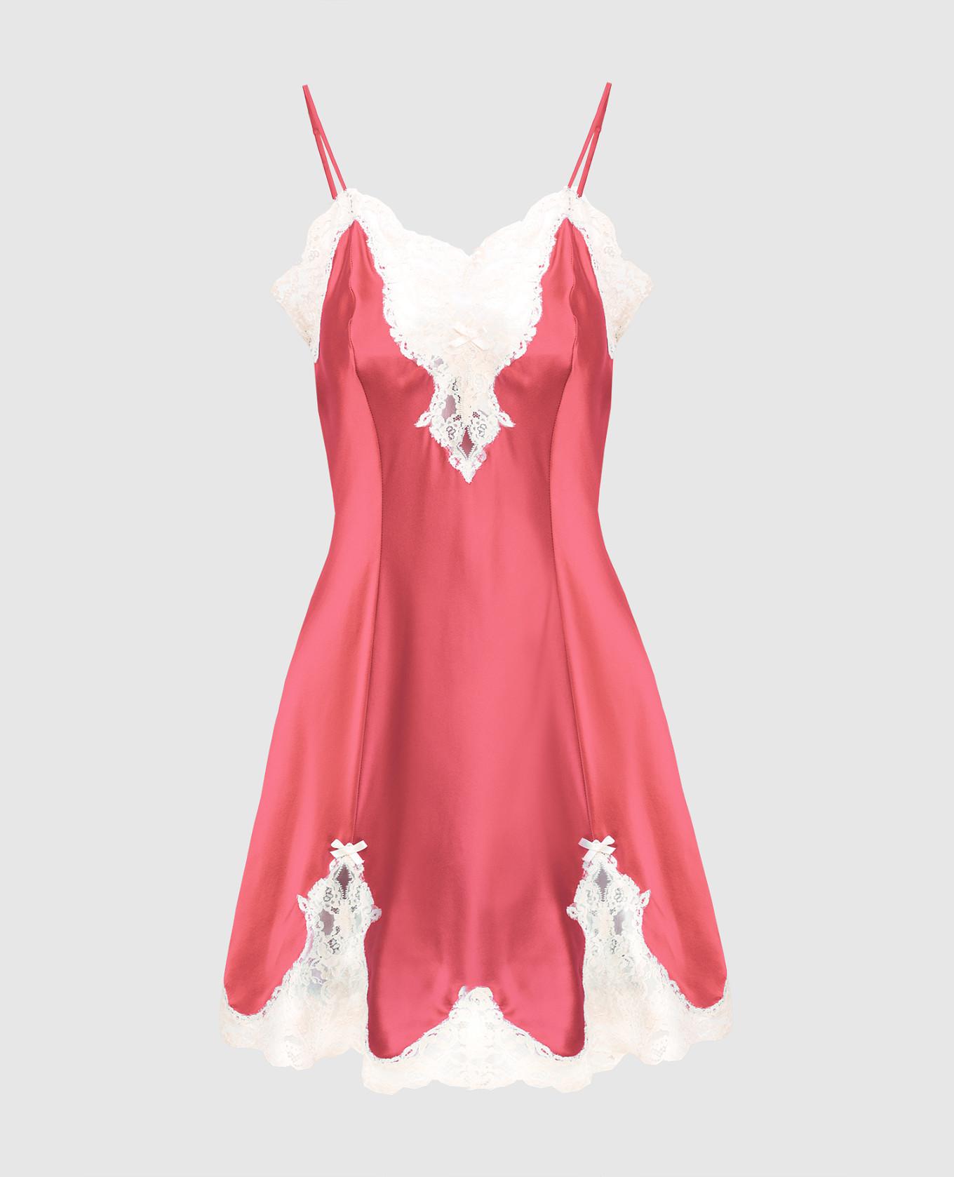Розовая комбинация из шелка ручной работы