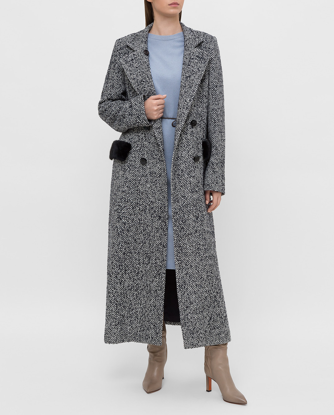 Heresis Темно-синее пальто с мехом норки C07130SLIMPVI изображение 2