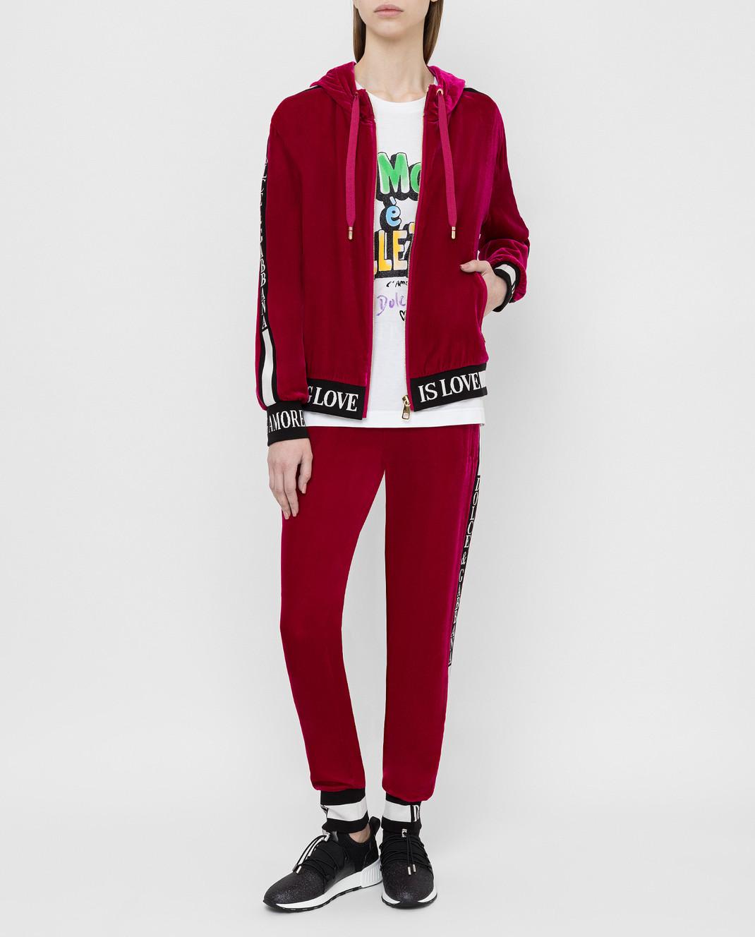Dolce&Gabbana Бордовая бархатная спортивная кофта F9H02TG7VDM изображение 2