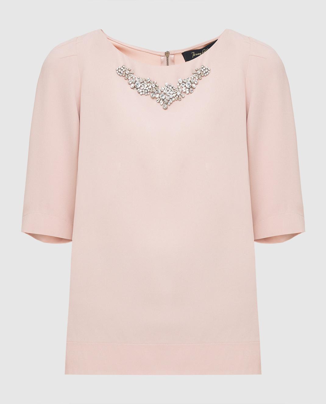 Jenny Packham Пудровая блуза с кристаллами WT104