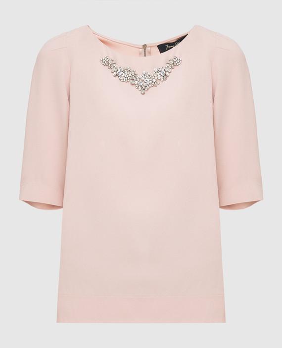 Пудровая блуза с кристаллами