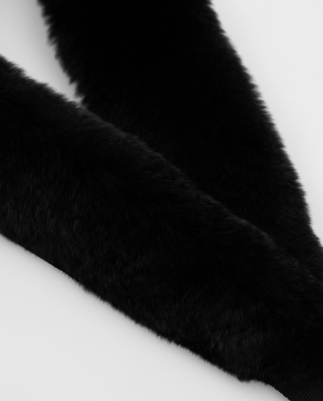 Max Mara Черный воротник из меха кролика LIPSIA изображение 3