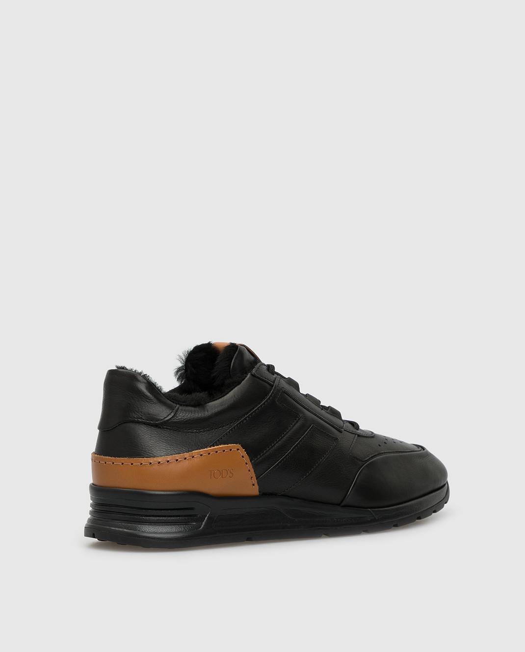 Tods Черные кожаные кроссовки на меху изображение 4