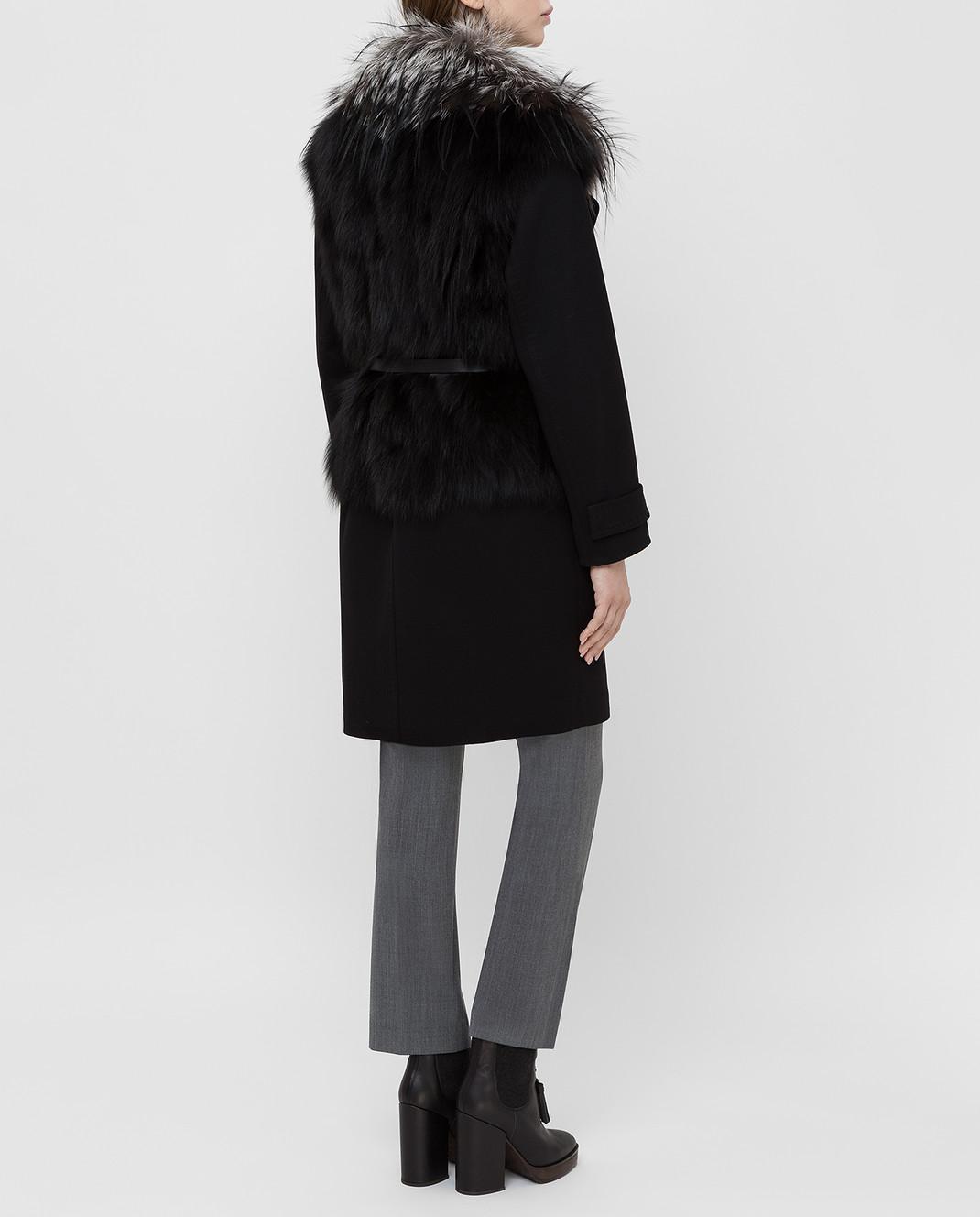 Giuliana Teso Черное пальто из шерсти и кашемира с мехом лисы 64C6060 изображение 4