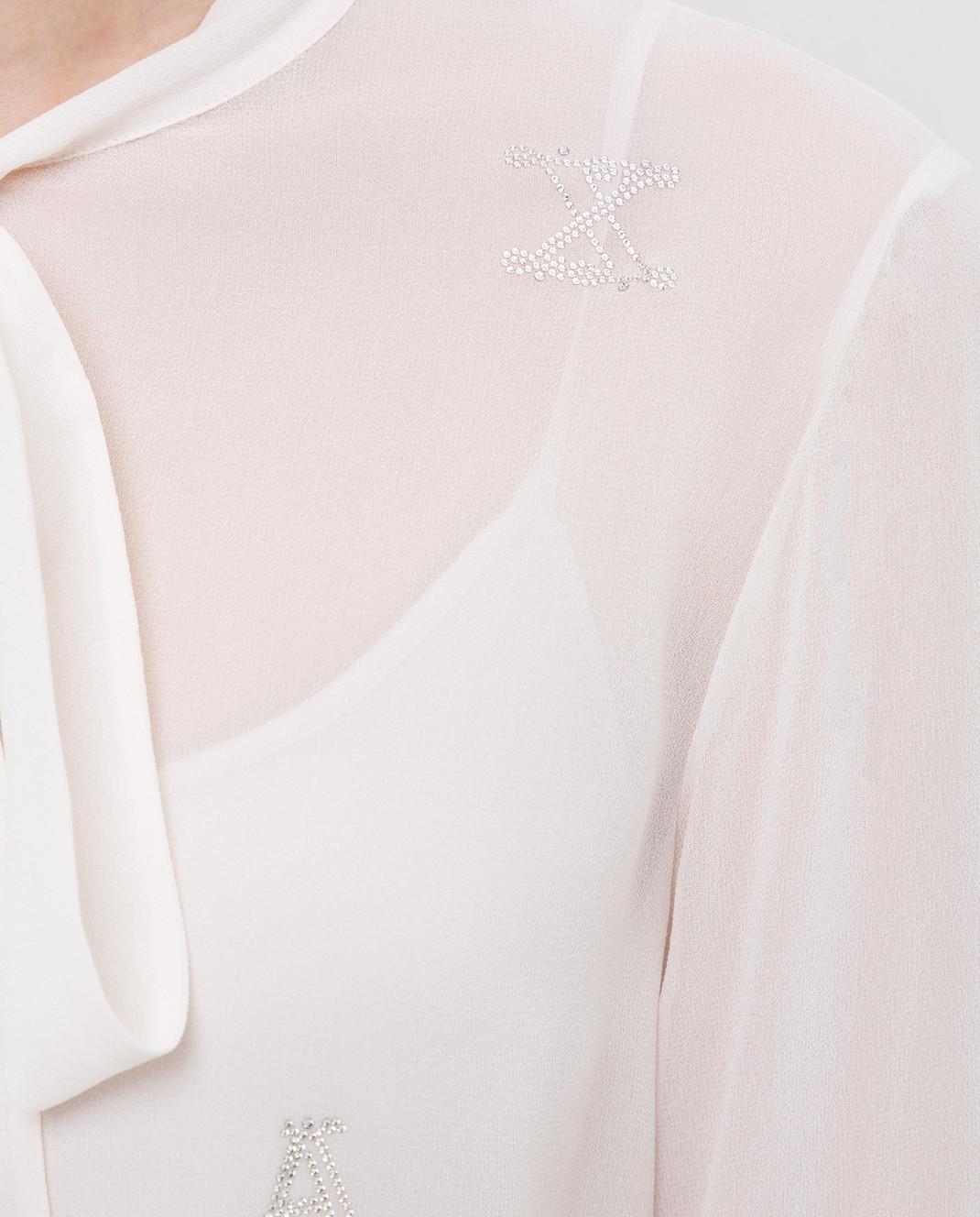 Max Mara Светло-бежевая блуза из шелка NUVOLE изображение 5