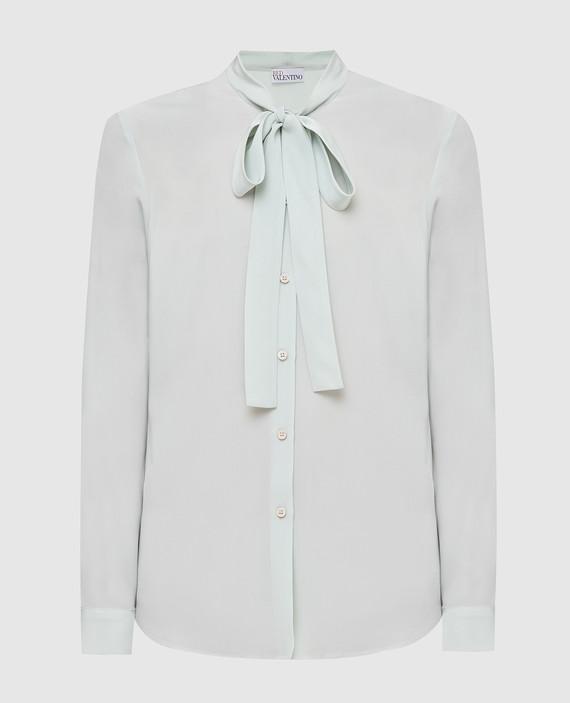 Светло-бирюзовая блуза из шелка
