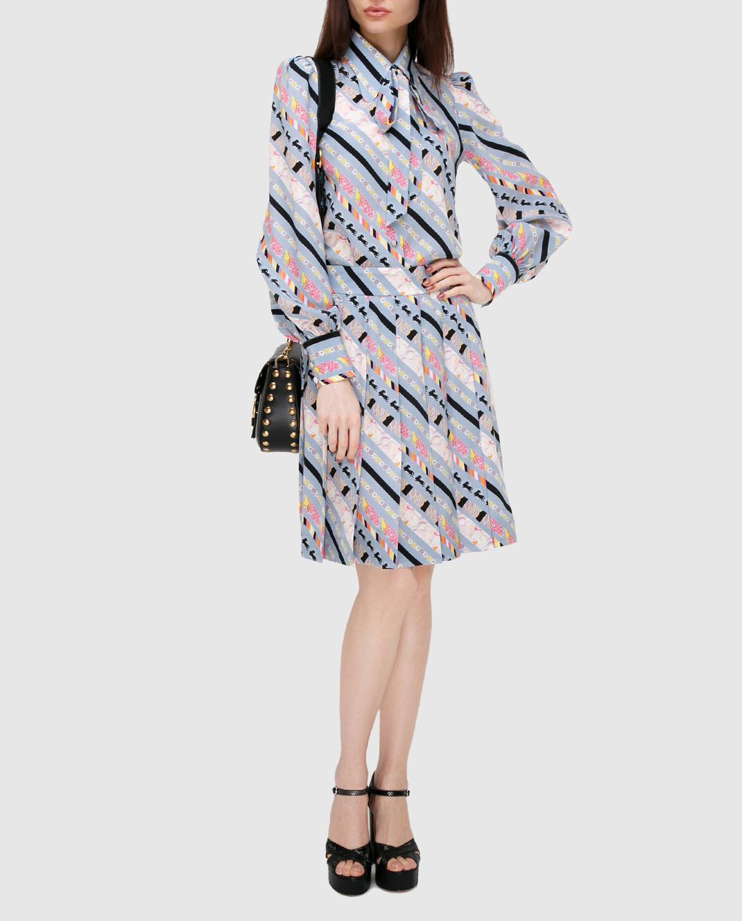 Marc Jacobs Голубая юбка из шелка изображение 2