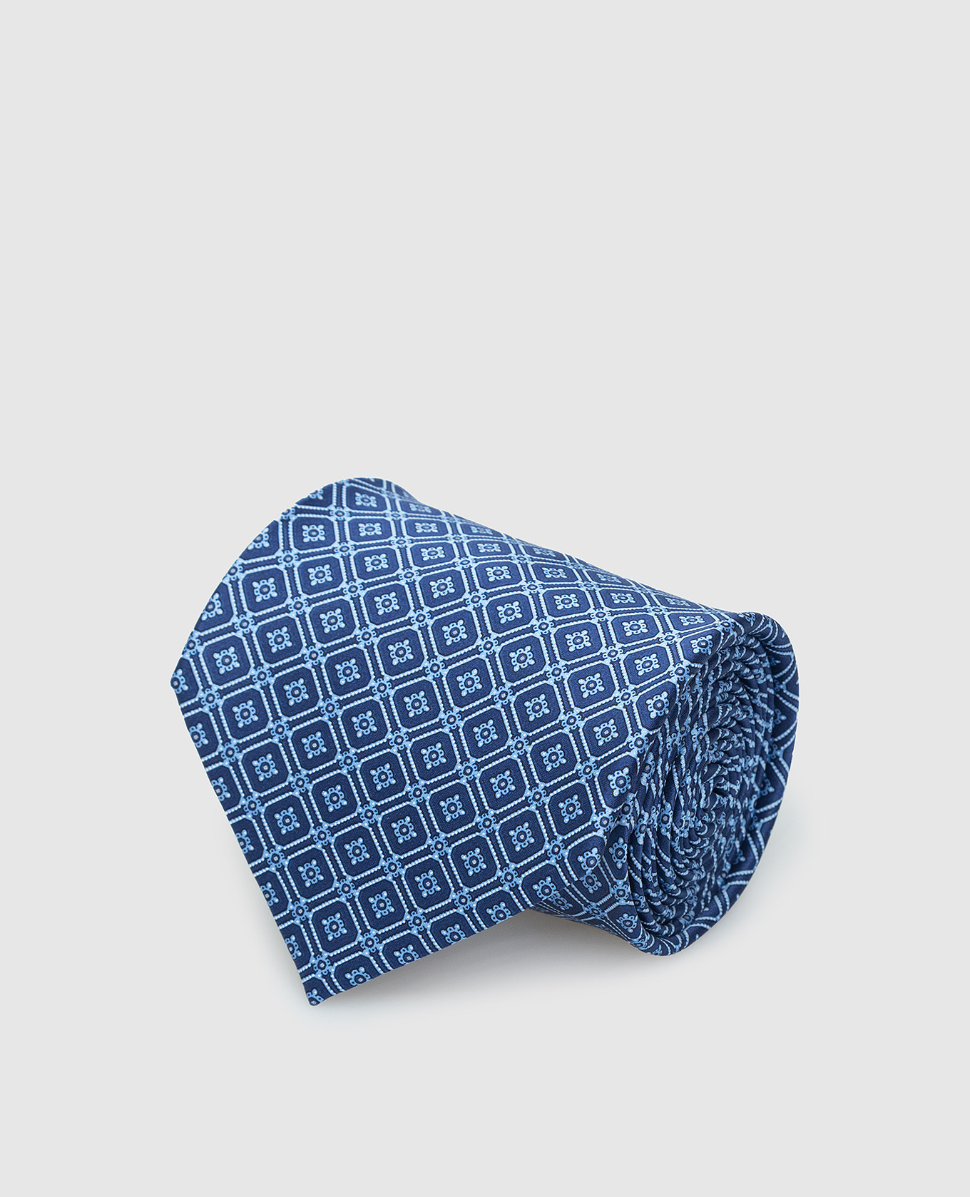 Синий шелковый галстук в узор паттерн Stefano Ricci