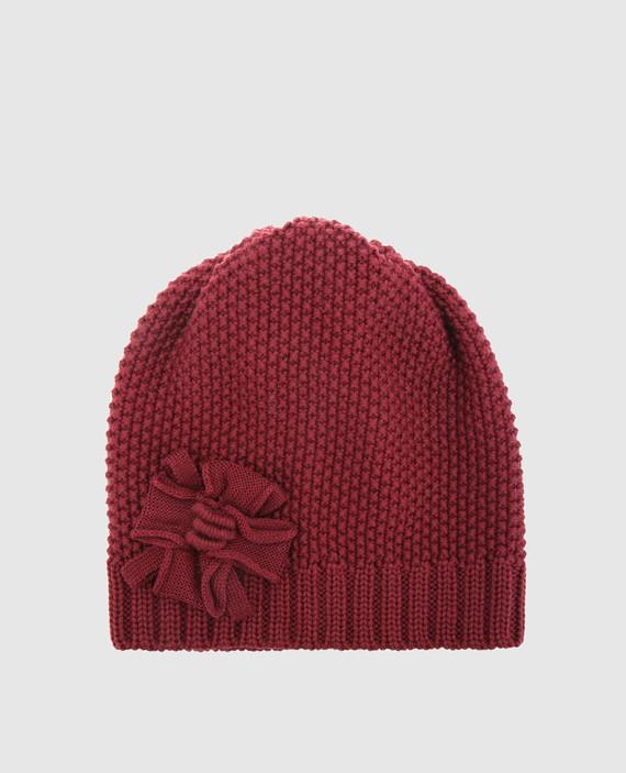 Детская бордовая шапка