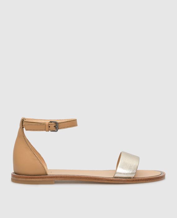 Детские золотистые кожаные сандалии