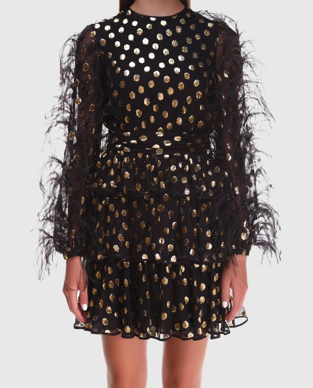 Valentino Черное шифоновое платье QB2VAIK043C изображение 3