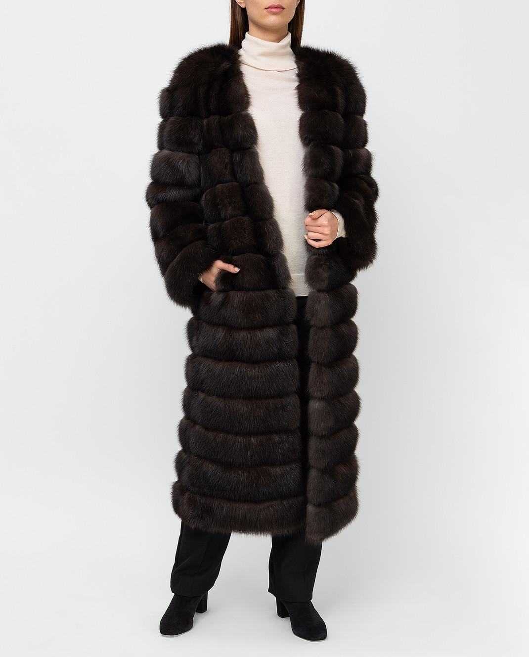 Real Furs House Темно-коричневая шуба из соболя SBR596DARKSILV1 изображение 2
