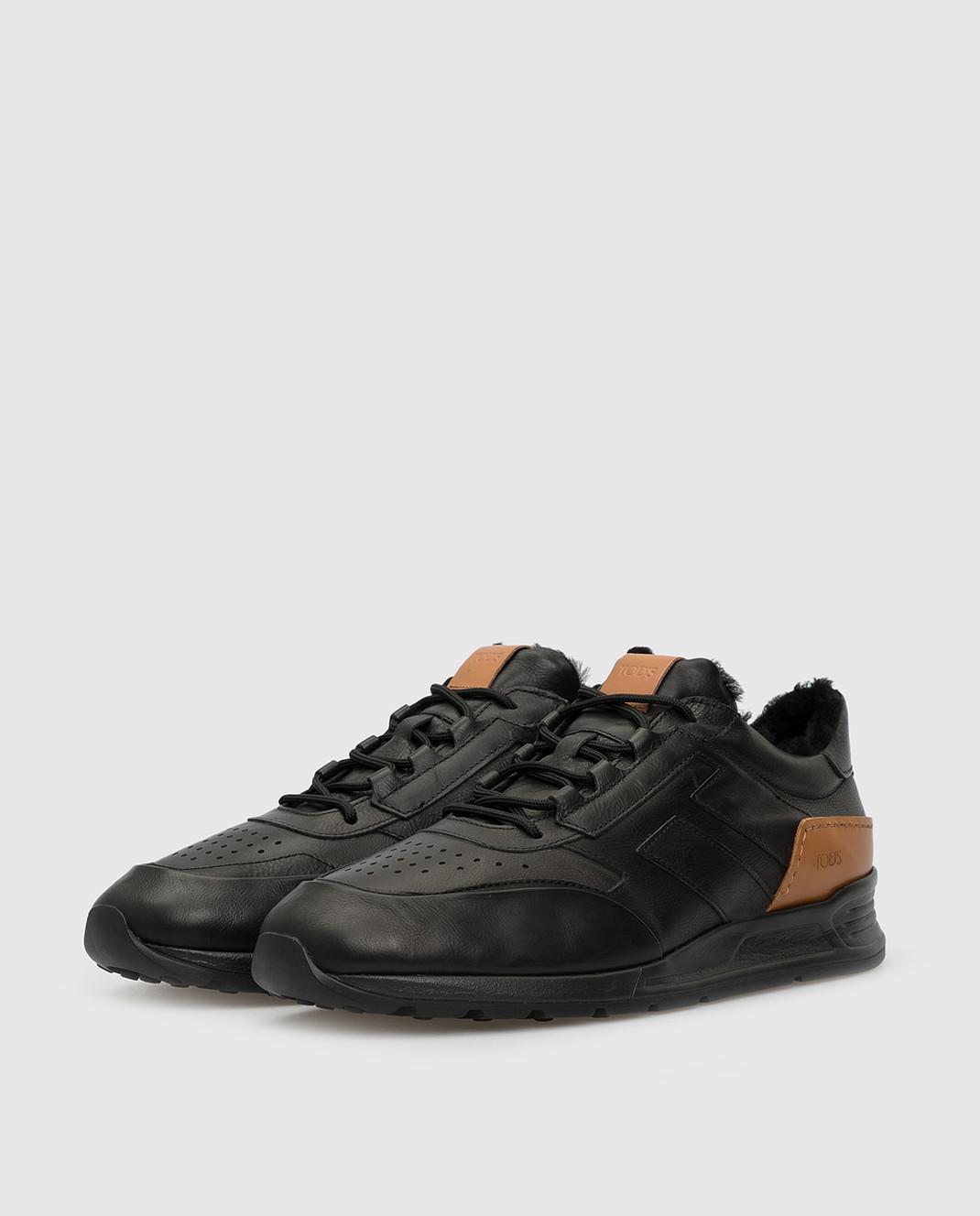 Tods Черные кожаные кроссовки на меху изображение 3