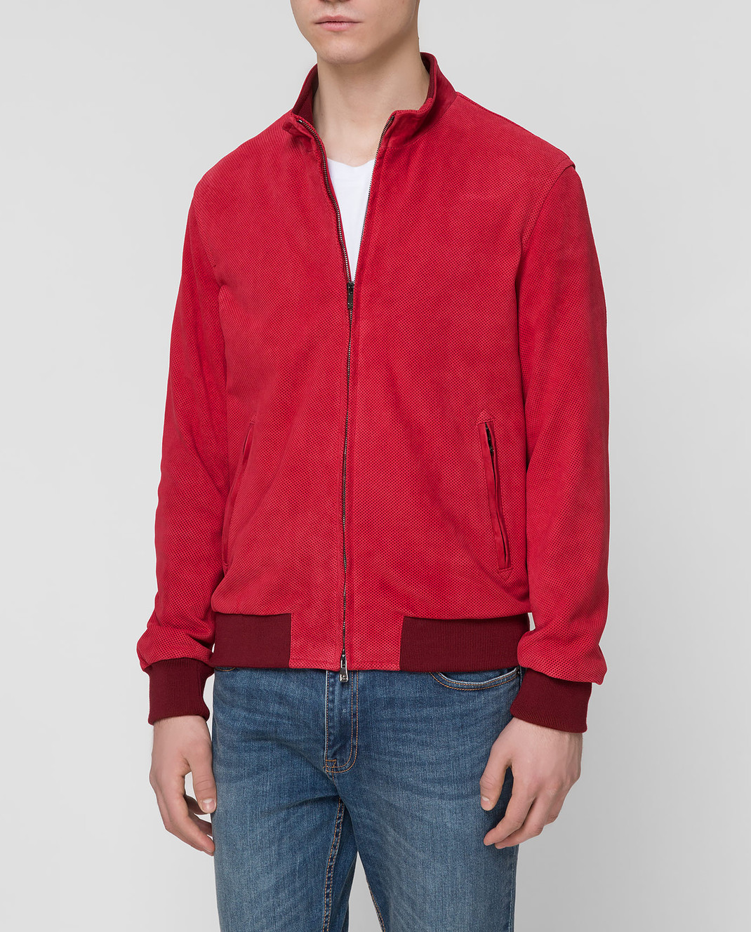 ISAIA Бордовая замшевая куртка LWT017PLW03 изображение 3