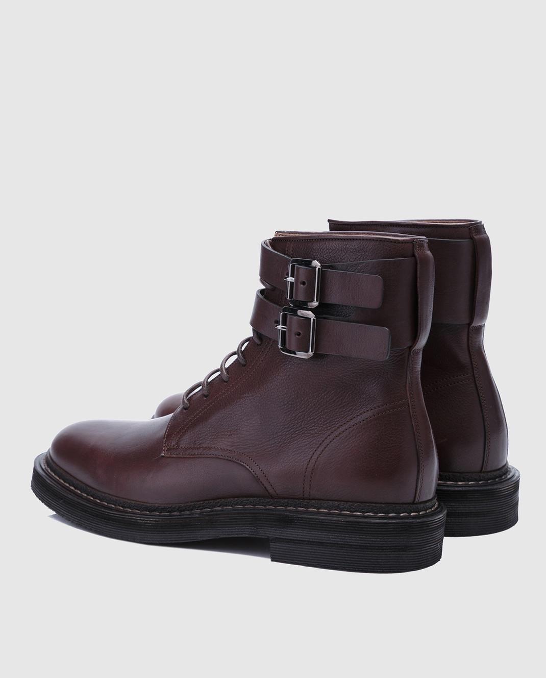 Brunello Cucinelli Темно-коричневые кожаные ботинки MZUSPFU174 изображение 3