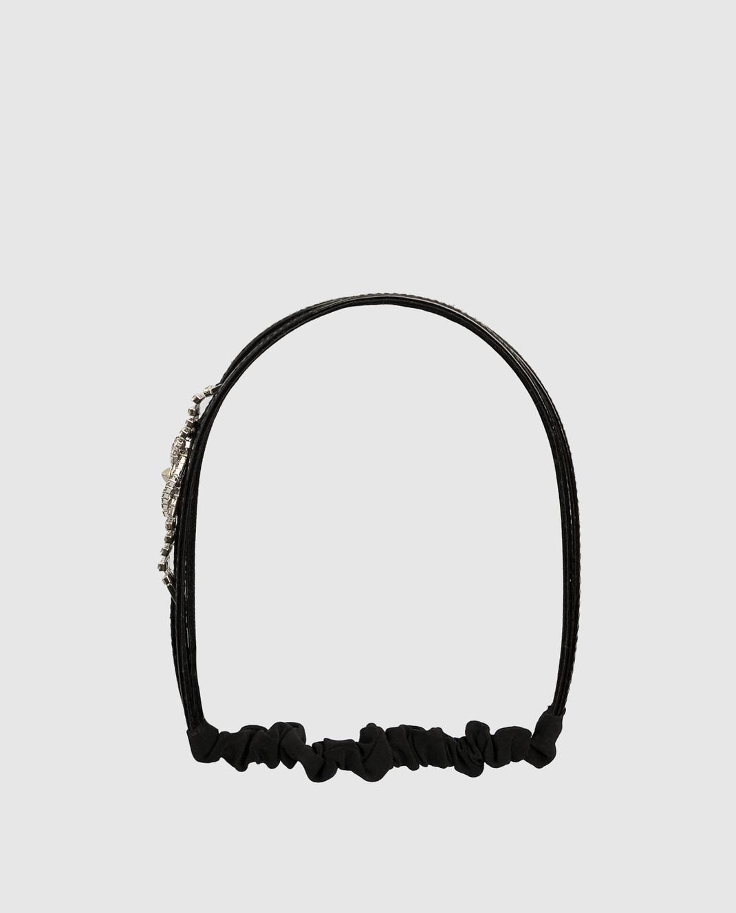 Alexandre De Paris Черный кожаный ободок с кристаллами THB036CA13