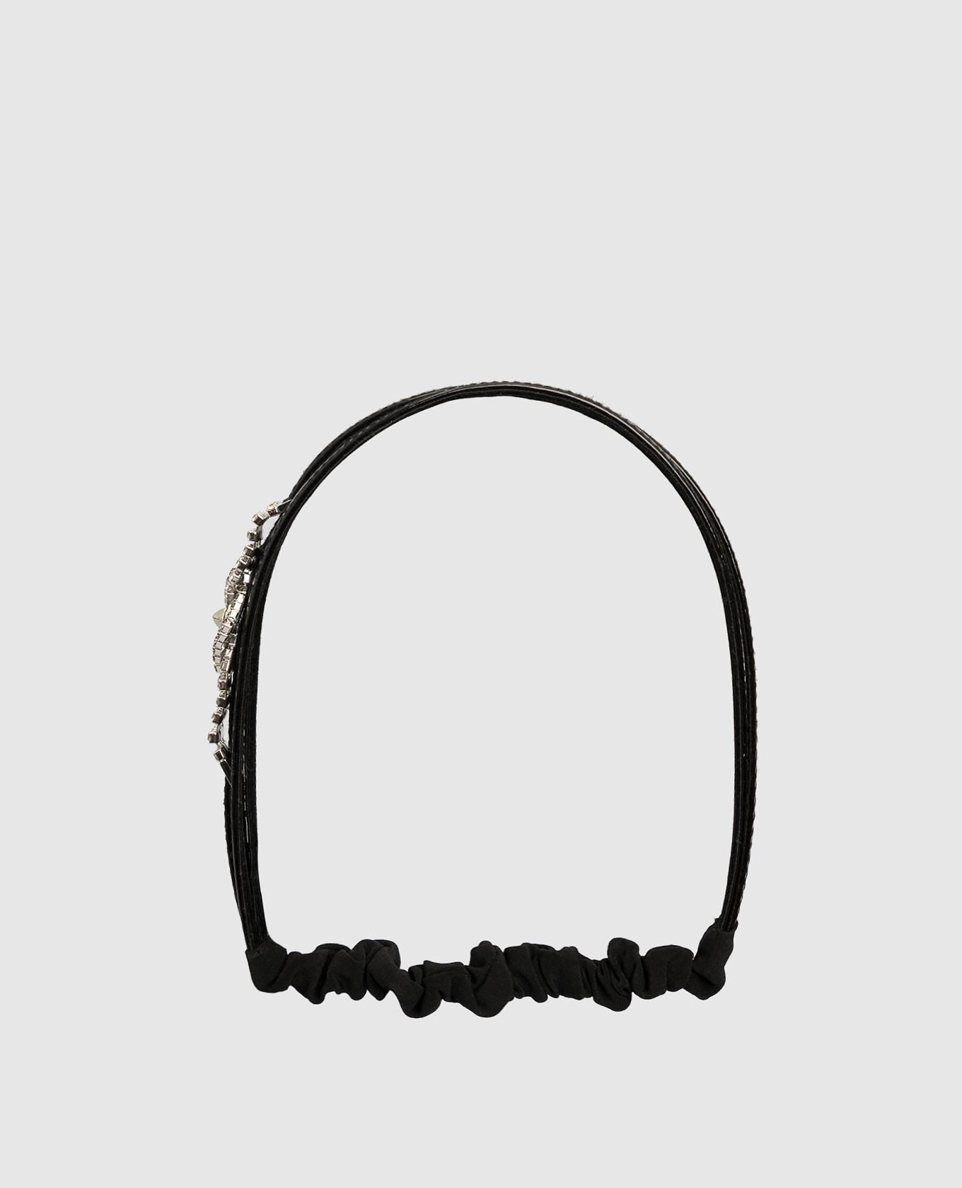 Черный кожаный ободок с кристаллами