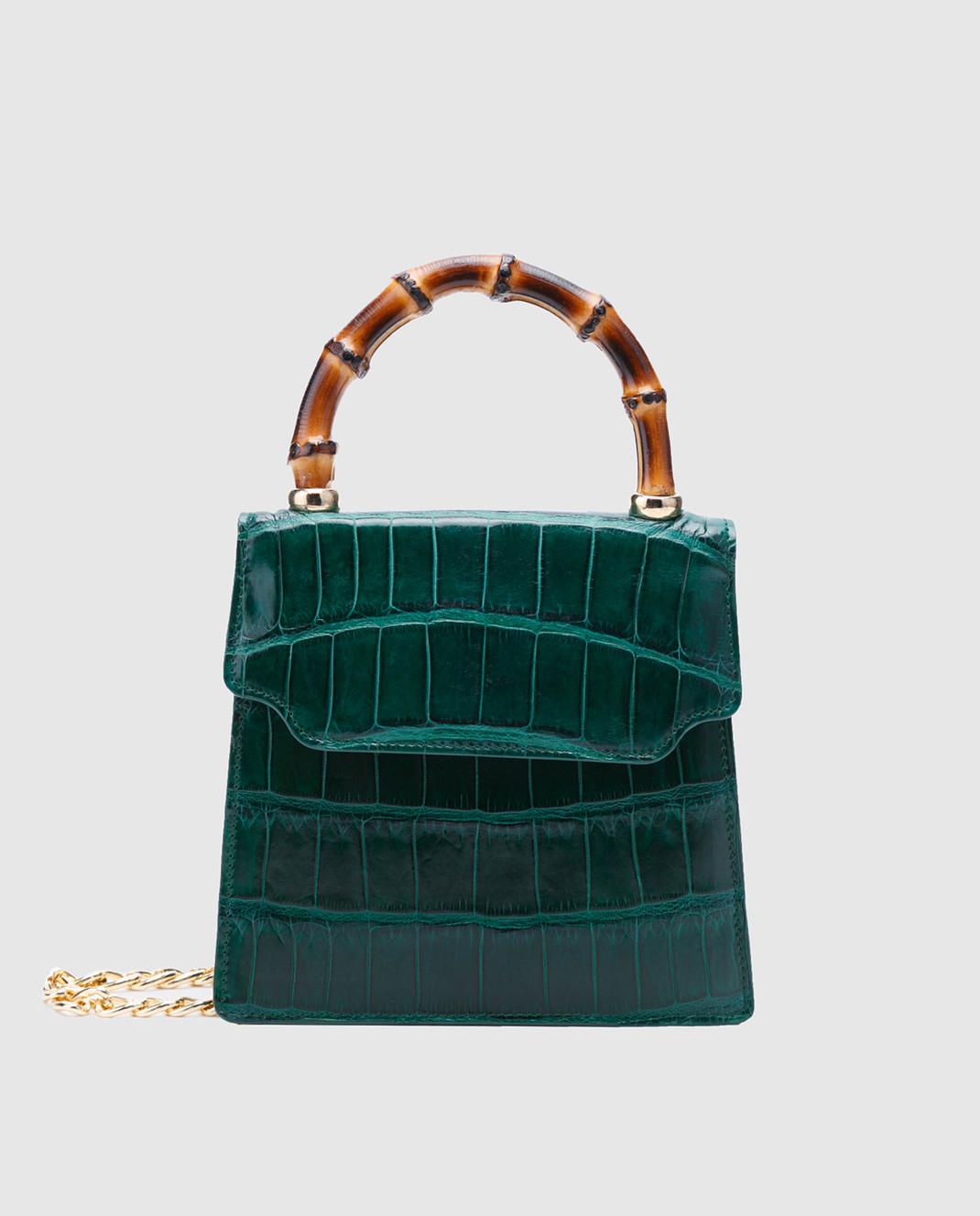 Bochicchio Зеленая кожаная сумка CROCOCLUTCH3