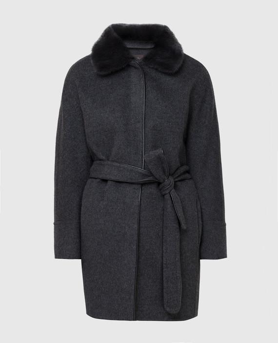 Темно-серое пальто из кашемира с мехом норки