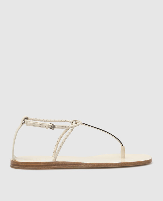 Светло-бежевые кожаные сандалии