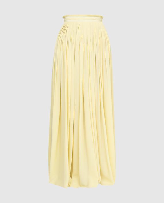 Желтая юбка из шелка