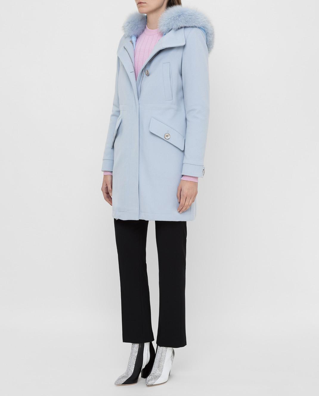 Heresis Голубое пальто из шерсти P1290VO изображение 3