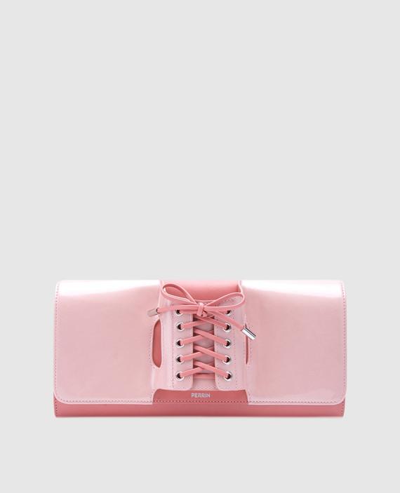 Розовый клатч из лакированной кожи Le corset