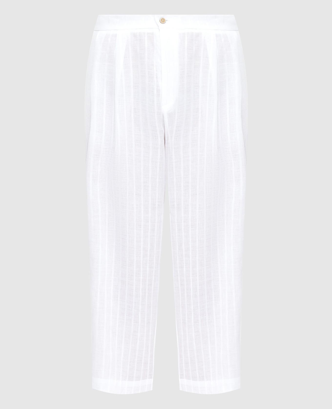 Белые брюки из льна с кристаллами