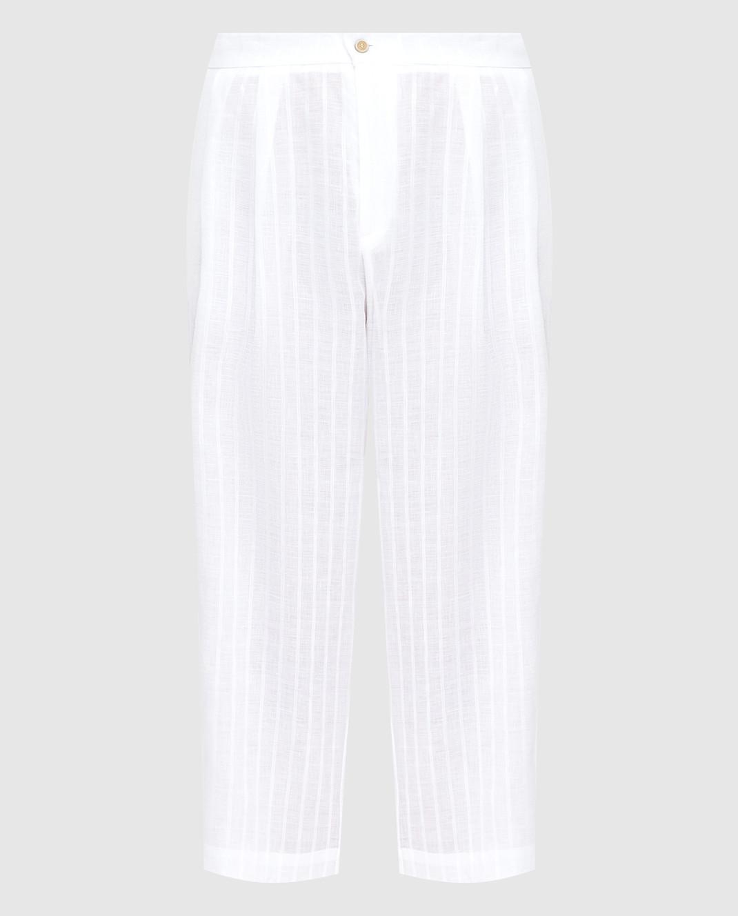Ermanno Scervino Белые брюки из льна с кристаллами D362P302GYC