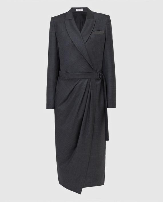 Серое платье из шерсти