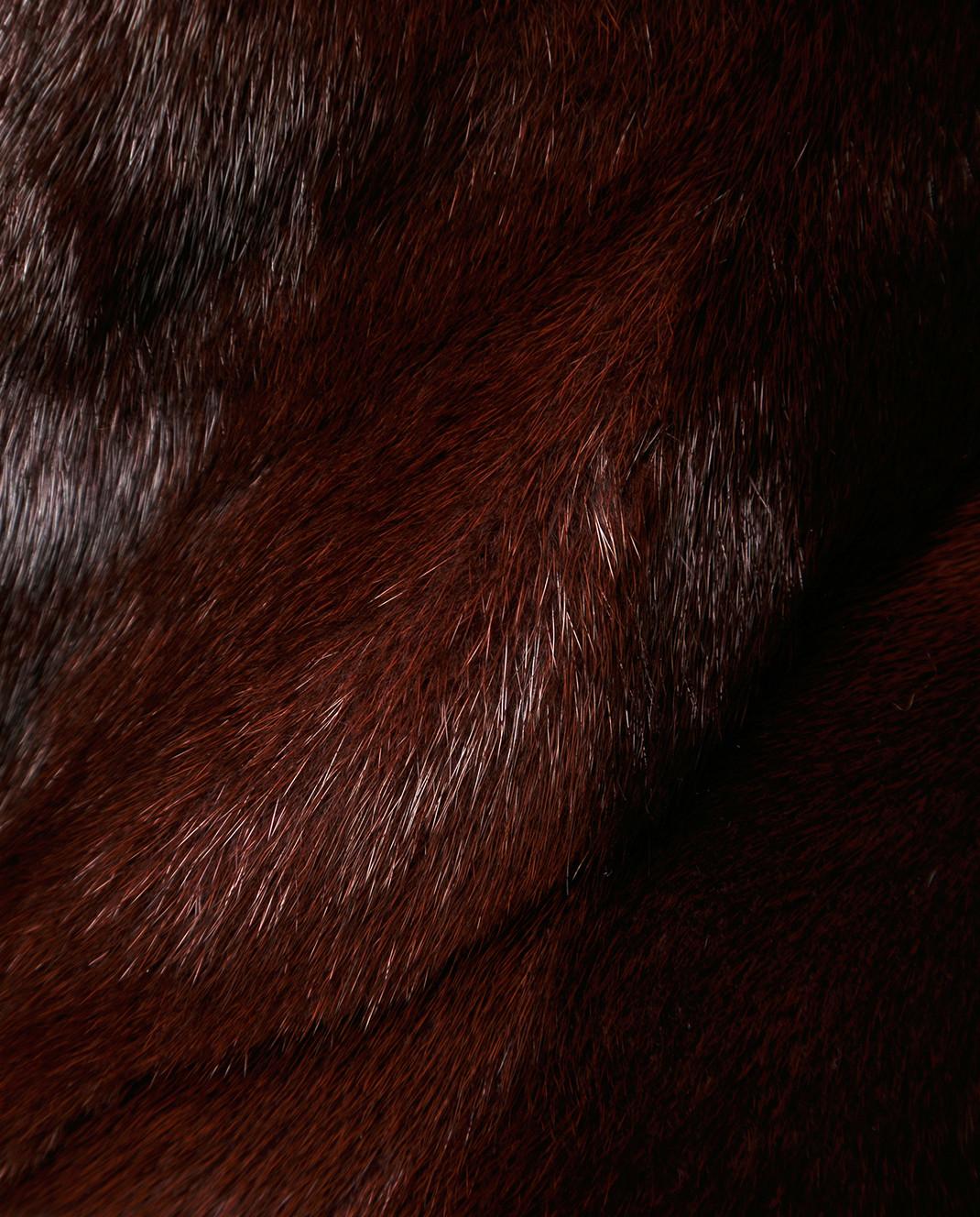 Florence Mode Бордовая шуба из меха норки с поясом 18N139RED изображение 5