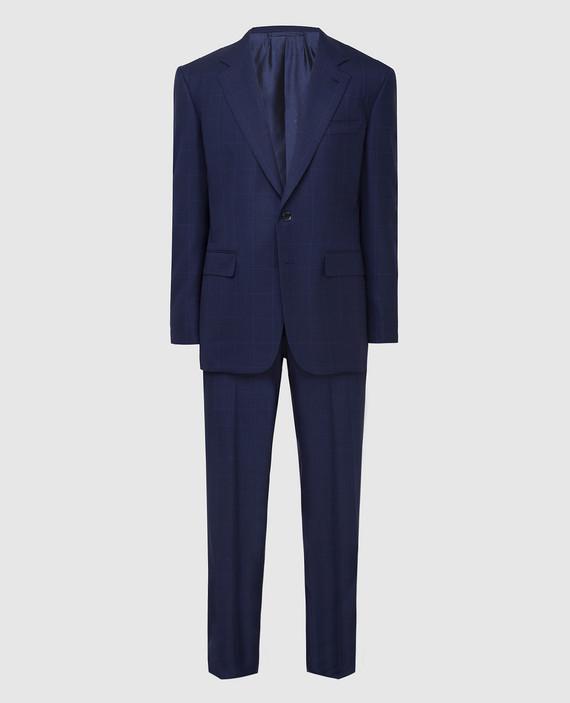Темно-синий костюм из шерсти