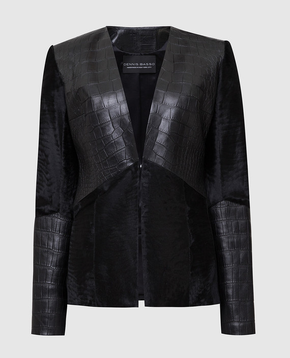 Черная куртка из кожи аллигатора и меха из каракульчи