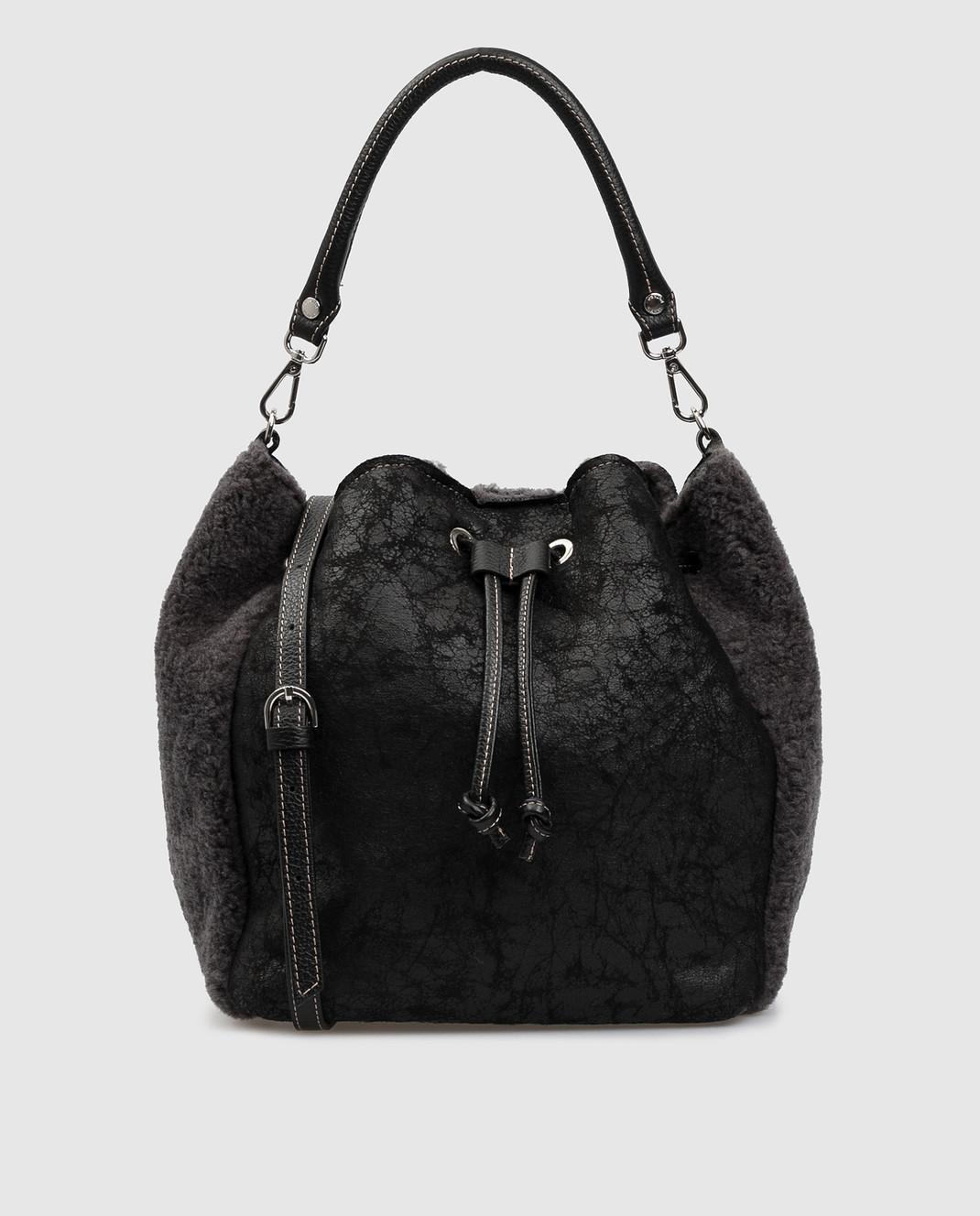 Gianni Notaro Черная сумка из кожи и меха 309