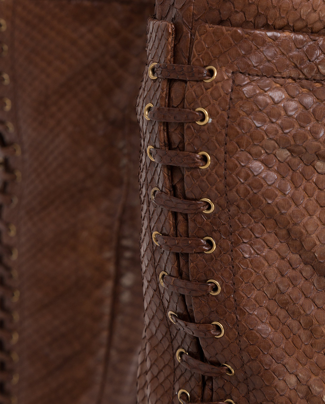 Gucci Коричневые брюки из кожи питона 264366 изображение 5